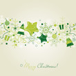 Green Christmas card with snowflakes