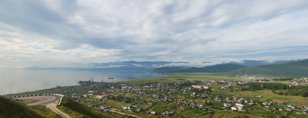 Coastal line of lake Baikal. Summer landscape. Russia
