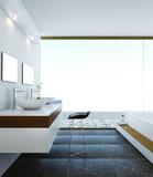 Fototapety Minimalistic modern design style of bathroom