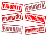Set of priority stamps poster