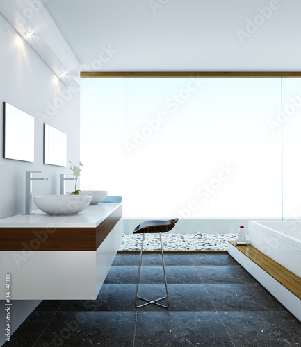 Minimalistic modern design style of bathroom