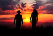 Cowboy couple silhouette at sunset