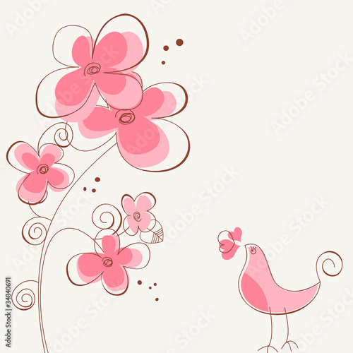 Tuinposter Abstract bloemen Flowers and bird love story