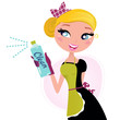 Housewife Ð french retro Maid with cleaning spray isolated on wh