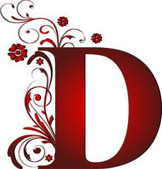 Großbuchstabe D rot