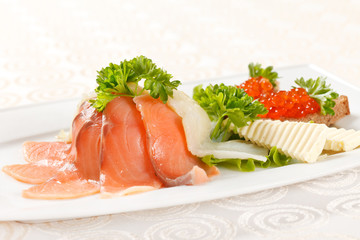appetizer with smoked salmon
