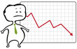 unhappy trader and a drop chart with falling red arrow - vector