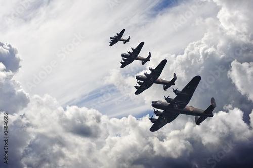 World War Two British vintage flight formation - 34846606