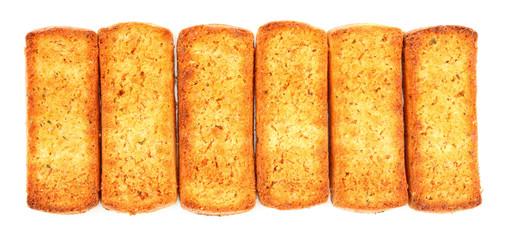 Italian bruschetta bread isolated over white