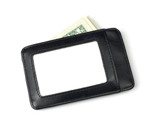 black leather wallet with stack of US dollars inside
