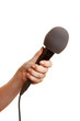 Hand hält Mikrofon