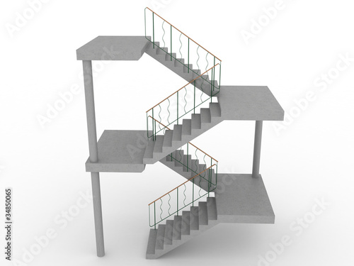 The concrete staircase with openings on a white background №2