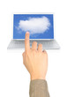 a finger pointing cloud computing.