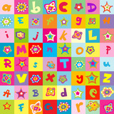 Fototapety Background with letters and flowers for kindergarten
