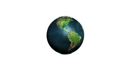 Earth rotating against white, Alpha, loop