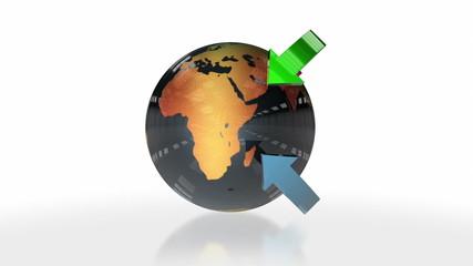 Earth Globe and Glossy Arrows, loop
