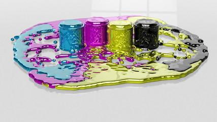 Paint CMYK splashing on white floor, Alpha included