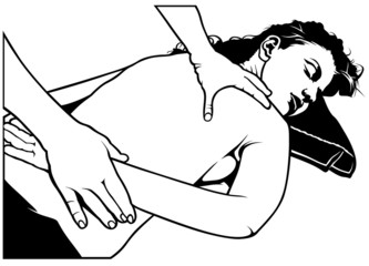 Massage - black and white illustration