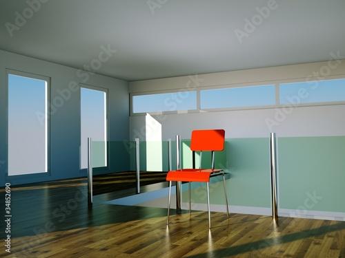 Wohndesign - roter Stuhl im Loft