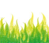 Scribble Fire In Green Grass. Vector