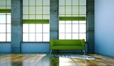 Wohndesign - grünes Sofa im Loft