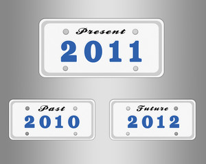 License plate with year