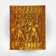 Engraving vintage Maya scene