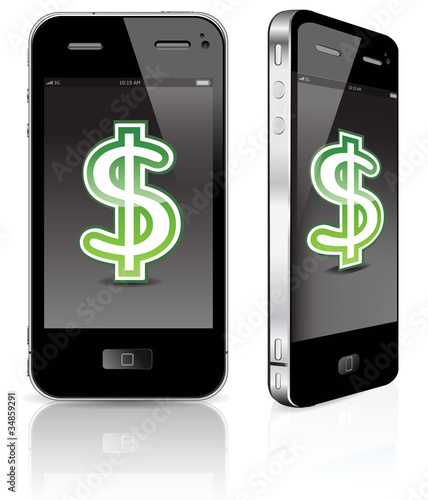 touch pad phone with dollar sign isolated on white background