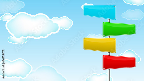 colorful blank road sign with cloud