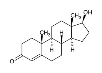 Structural formula of testosterone (male sex hormone)