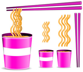 set of pink noodle cup with chopsticks isolated on white