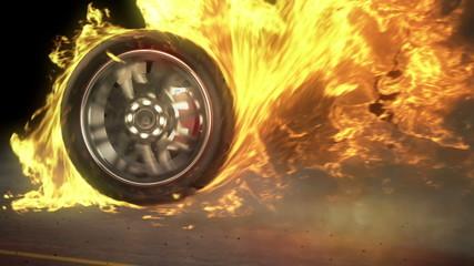 tire Burnout on asphalt, creates lots of fire & heat, loop