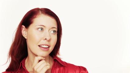 Redhead woman thinking