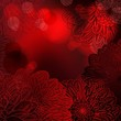 Deep red vector background with stylized dahlia flowers
