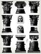 Engraving vintage column set
