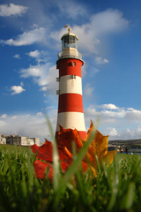Plymouth with Lighthouse in autumn, England