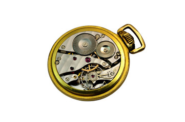 Detail of an isolated  golden pocket watch