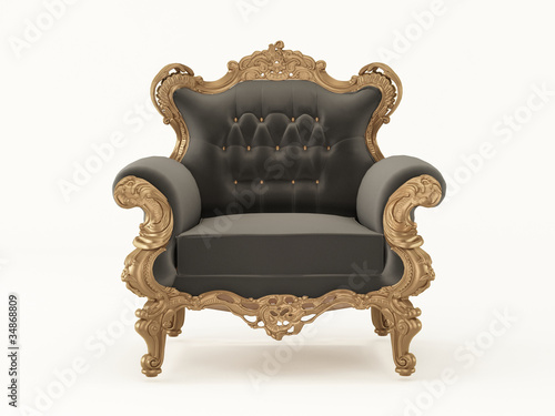 Luxurious pattern armchair with bronze frame isolated on white b