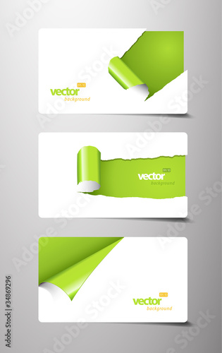 Set of gift cards with rolled corners.