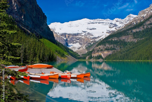 Docked Canoes, Lake Louise, Banff National Park