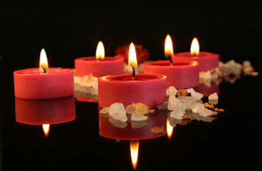 aromatic candles in the dark