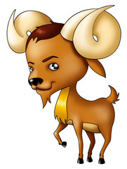 Illustration of Aries symbol in cartoon style