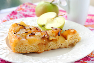 Apple pie with caramel and cinnamon