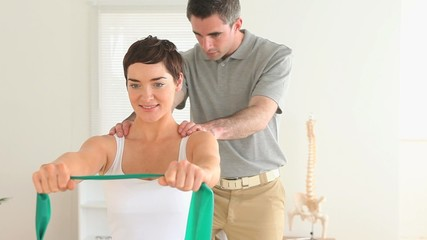 Woman doing physiotherpy-exercises