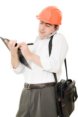 Busy businessman in his helmet on a white background.