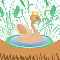 Cute duck with crown on nature background greeting card