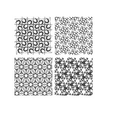 Set of black and white geometric patterns