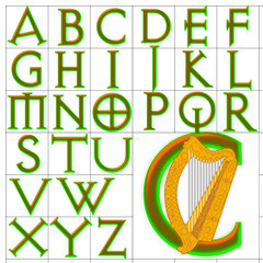 ABC Alphabet background avquest harp design