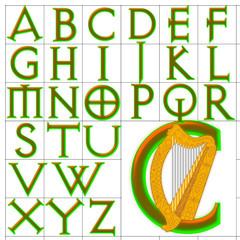 ABC Alphabet background avquest harp design