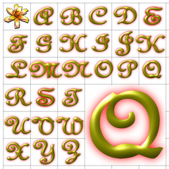 ABC Alphabet background feench gold design